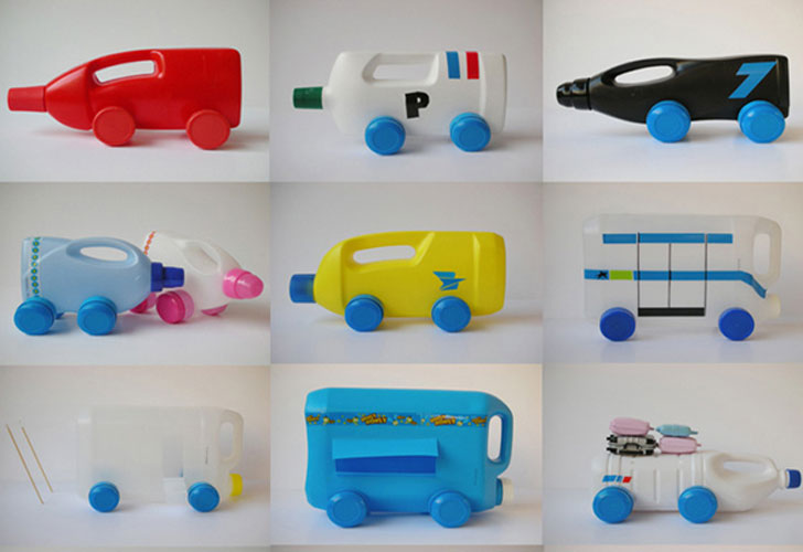 Recycled Detergent Bottle Toy Cars
