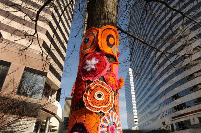 Yarn Bomb installationoutside of the Artisphere, Arlington VAfor Ropsslyn BID