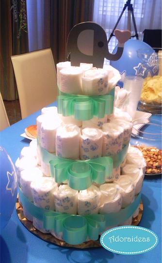 baby-shower-tarta-pañales-adoraideas-handmade